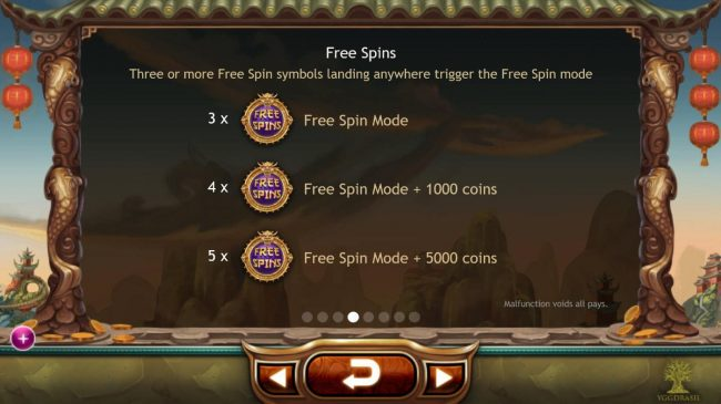 Three or more Free Spin symbols landing anywhere on the reels trigger the free spins mode