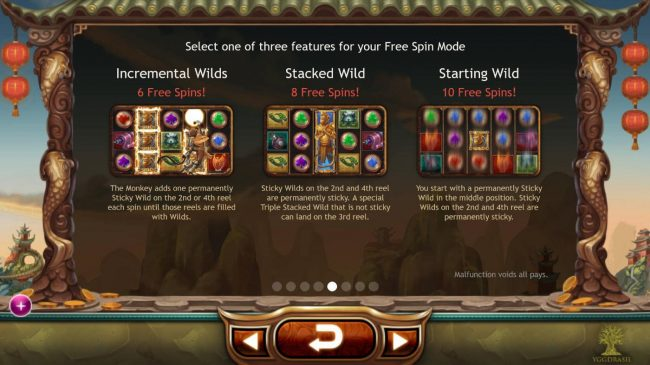 Legend of the Golden Monkey :: There are 3 Free Spins features to choose from