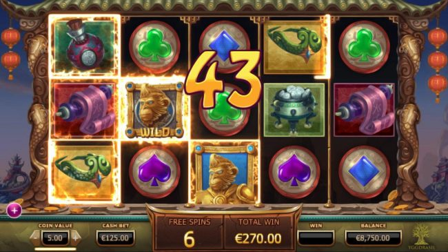 Legend of the Golden Monkey :: Wilds combine to form multiple winning combination leading to a 43 coin payout.