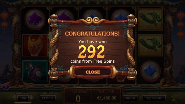 Legend of the Golden Monkey :: Free Spins feature pays out a total of 292 coins.