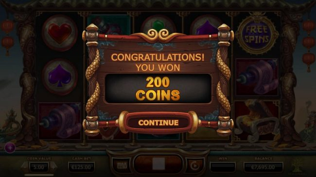 Legend of the Golden Monkey :: Treasure chest awards a 200 coin prize award.