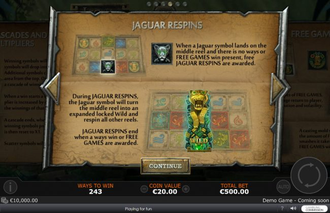 Slots Heaven featuring the Video Slots Legend of the Jaguar with a maximum payout of $50,000