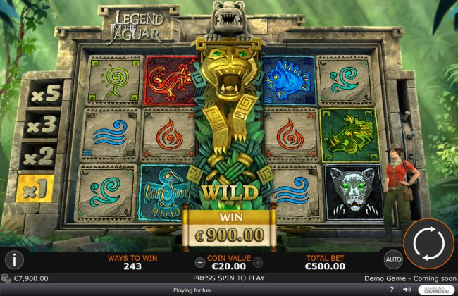 Circus Casino featuring the Video Slots Legend of the Jaguar with a maximum payout of $50,000