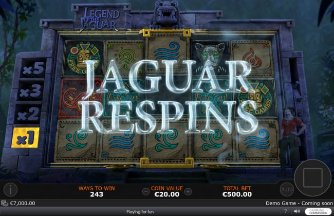 Chips Palace featuring the Video Slots Legend of the Jaguar with a maximum payout of $50,000