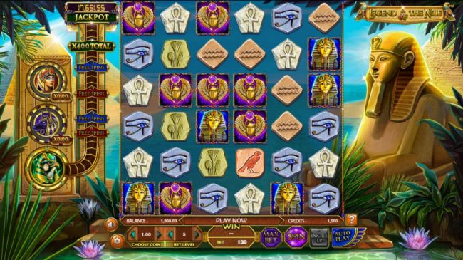 Gossip Slots featuring the Video Slots Legend of the Nile with a maximum payout of $122,270