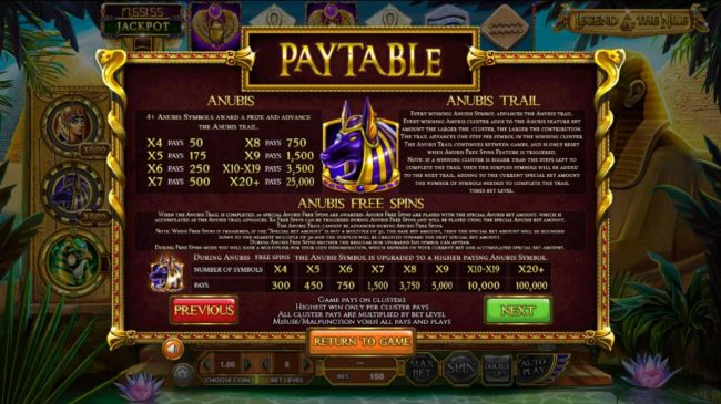 123 Vegas Win featuring the Video Slots Legend of the Nile with a maximum payout of $122,270