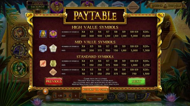 Lotus Asia featuring the Video Slots Legend of the Nile with a maximum payout of $122,270