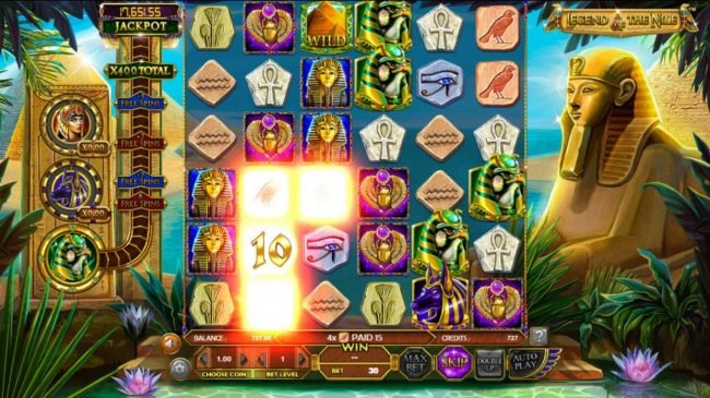 Vegas Days featuring the Video Slots Legend of the Nile with a maximum payout of $122,270
