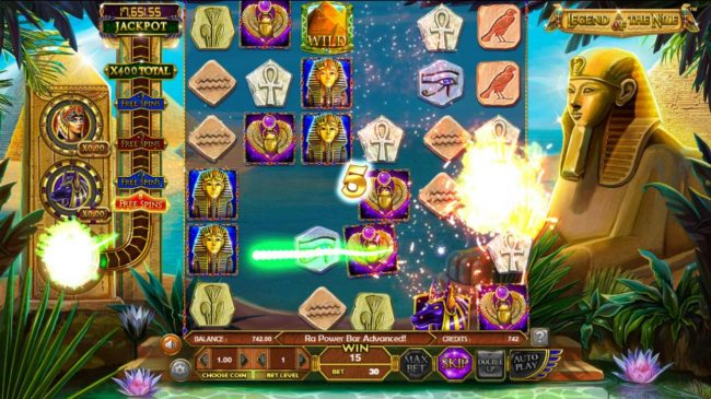 Casino Room featuring the Video Slots Legend of the Nile with a maximum payout of $122,270