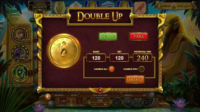 Superbet Palace featuring the Video Slots Legend of the Nile with a maximum payout of $122,270