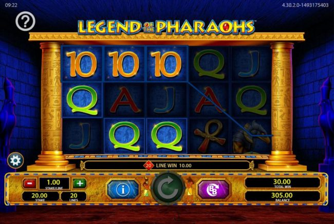 DruckGluck featuring the Video Slots Legend of the Pharaohs with a maximum payout of $250,000