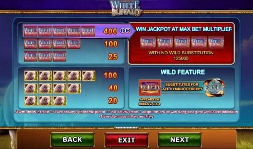 Slot game symbols paytable - contniued