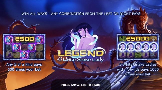 Play slots at Avalon78: Avalon78 featuring the Video Slots Legend of the White Snake Lady with a maximum payout of $125,000