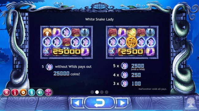 Play slots at Yoyo: Yoyo featuring the Video Slots Legend of the White Snake Lady with a maximum payout of $125,000