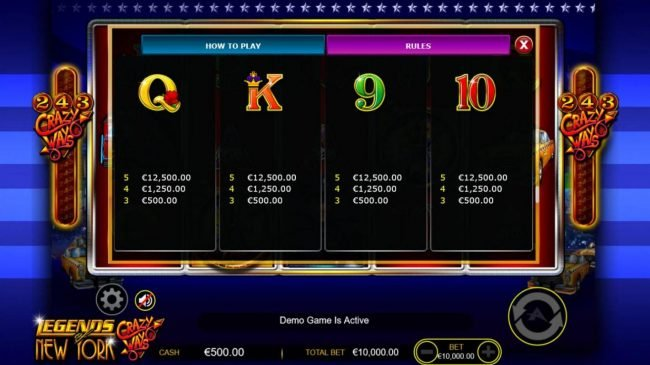 Red Queen featuring the Video Slots Legends of New York with a maximum payout of $500,000