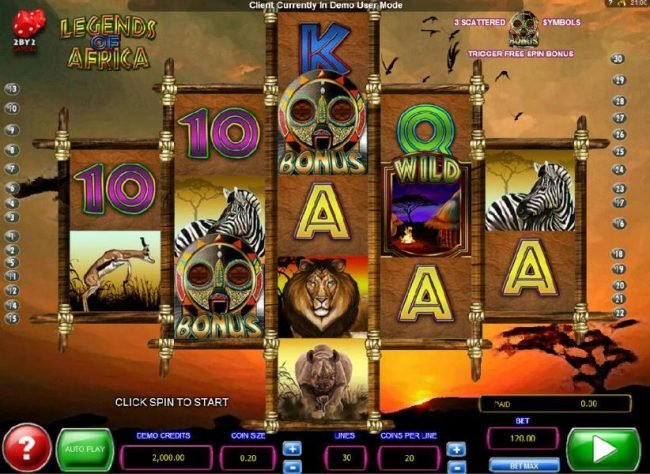 Amsterdam Casino featuring the Video Slots Legends of Africa with a maximum payout of $2,000