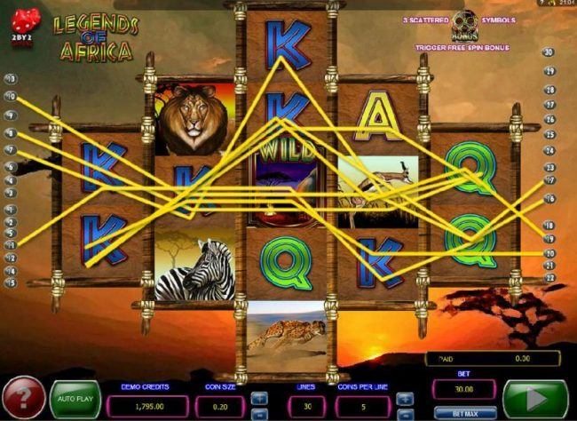 Norskespill featuring the Video Slots Legends of Africa with a maximum payout of $2,000