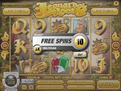 Three wooden gear scatter symbols triggers 10 free spins.