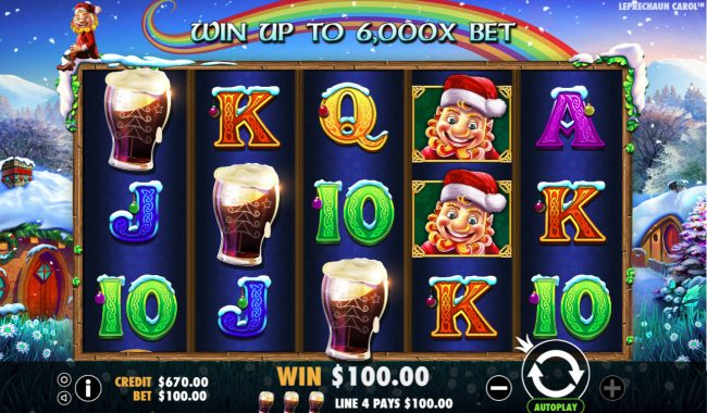Crystal Casino Club featuring the Video Slots Leprechaun Carol with a maximum payout of $100,000