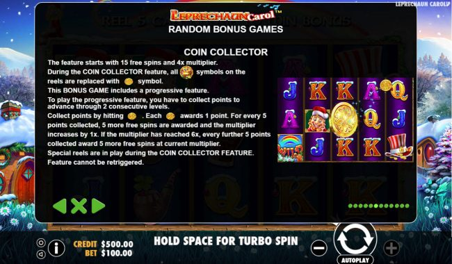 Slots Village featuring the Video Slots Leprechaun Carol with a maximum payout of $100,000