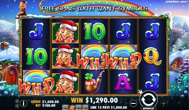 Reel Vegas featuring the Video Slots Leprechaun Carol with a maximum payout of $100,000