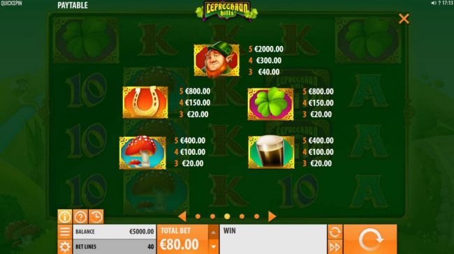 High value slot game symbols paytable featuring leprechaun inspired icons.