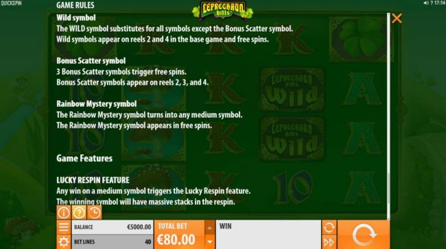 Sin Spins featuring the Video Slots Leprechaun Hills with a maximum payout of $12,000