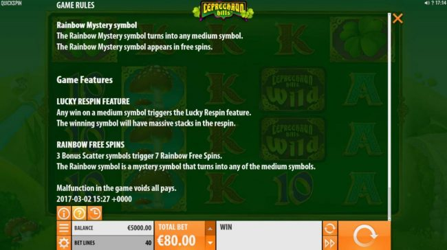 Lucky Respin Feature and Rainbow Free Spins Rules