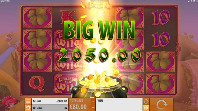 Multiple winning paylines triggers a 2050.00 big win!