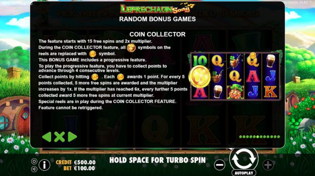 Spiral featuring the Video Slots Leprechaun Song with a maximum payout of $400,000