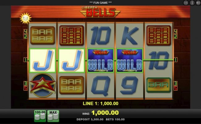 Queen Vegas featuring the Video Slots Liberty Bells with a maximum payout of $100,000