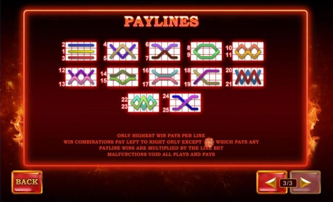 Payline Diagrams 1-25. Only highest win pays per line. Win combinations pay left to right only except scatter which pays any. Payline wins are multiplied by the line bet.