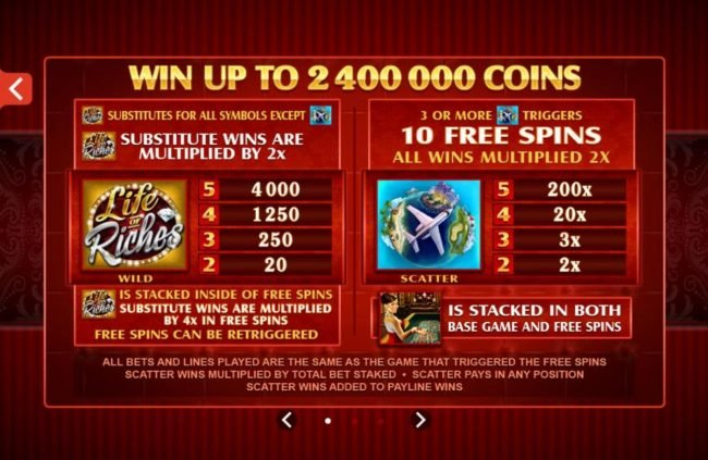 7 Gods Casino featuring the Video Slots Life of Riches with a maximum payout of $120,000