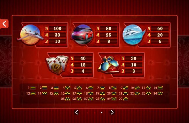 Low value game symbols paytable and payline diagrams 1 to 30.
