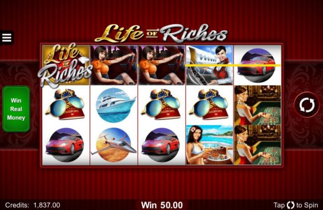 King Billy featuring the Video Slots Life of Riches with a maximum payout of $120,000