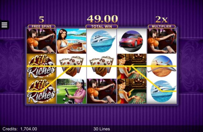 UK Casino Club featuring the Video Slots Life of Riches with a maximum payout of $120,000