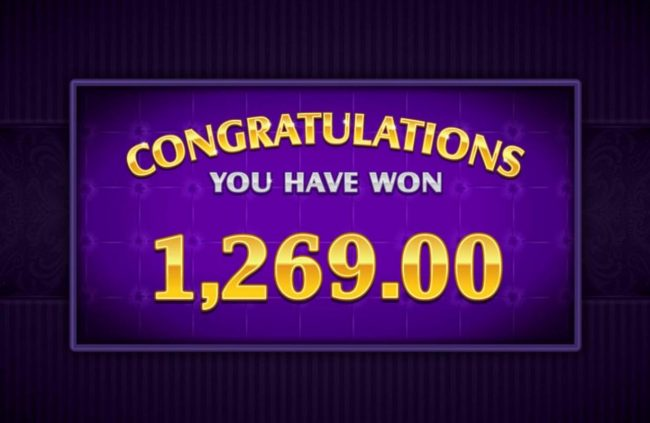 The Free Spins feature pays out a total of 1,269.00