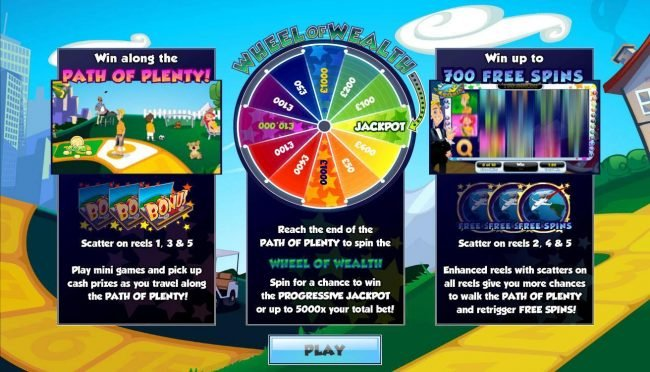 Win along the Path of Plenty! Wheel of Wealth and Win up to 700 Free Spins!