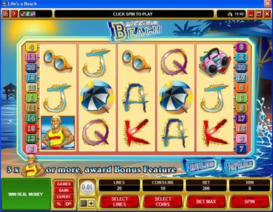 Play slots at Lucky Nugget: Lucky Nugget featuring the video-Slots Life's a Beach with a maximum payout of $120,000