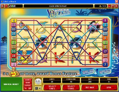 Vegas Winner featuring the video-Slots Life's a Beach with a maximum payout of $120,000