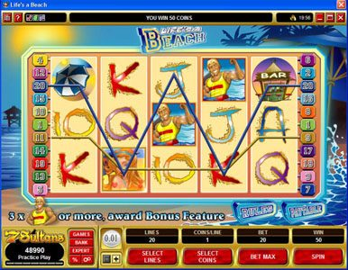 Cabaret Club featuring the video-Slots Life's a Beach with a maximum payout of $120,000