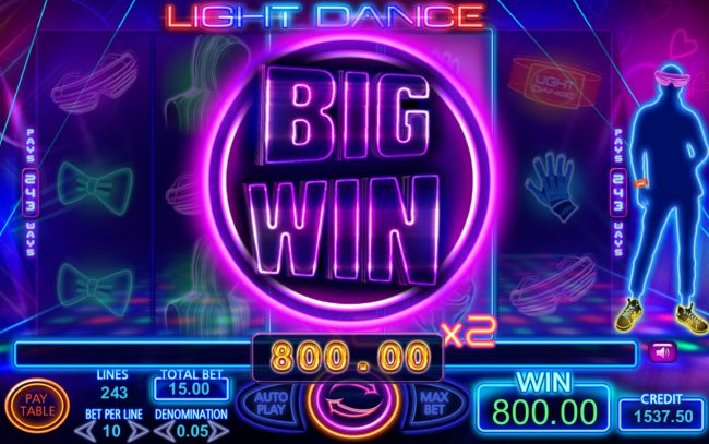 Napoli featuring the Video Slots Light Dance with a maximum payout of $182,250