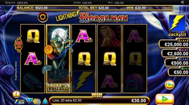 Lightning Horseman :: stacked wild triggers multiple winning combinations