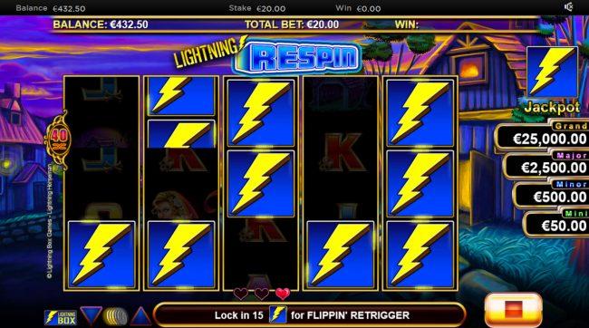 Lightning Horseman :: Landing additional scatter symbols will award 3 more respins