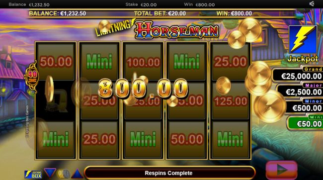 HippoZino featuring the Video Slots Lightning Horseman with a maximum payout of $30,000