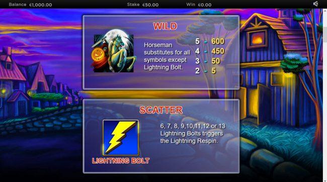 Lightning Horseman :: Wild and Scatter Symbol Rules