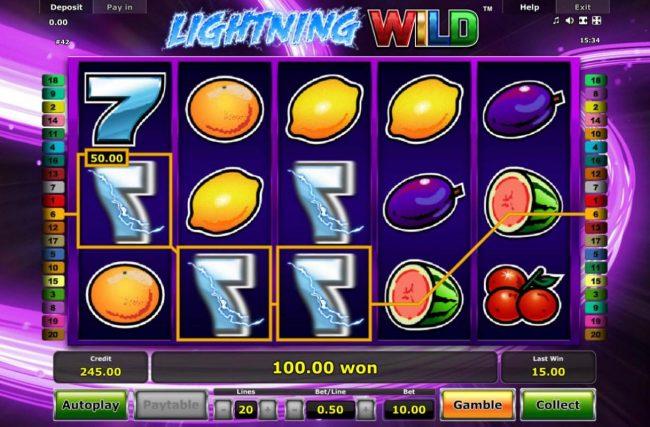 A combnation of winnng 7 symbols triggers a 100.00 jackpot.