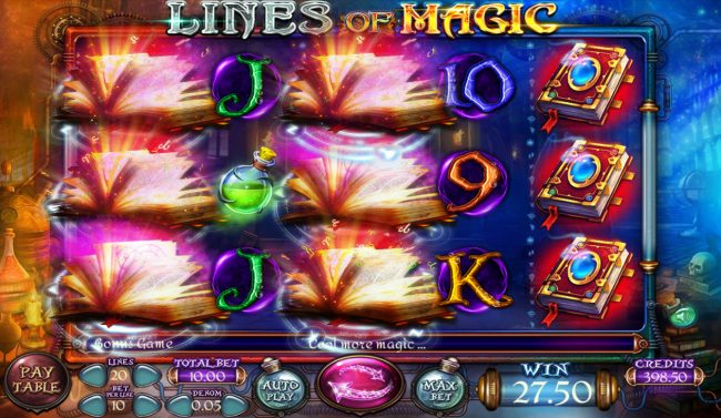lines of Magic :: Multiple winning paylines triggers a big win