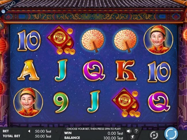 A Chinese festival themed main game board featuring five reels and 243 winnng combinations with a $50,000 max payout
