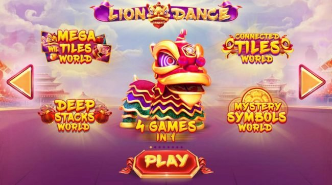 Lion Dance :: Game features include: Mega Tiles World, Deep Stakcs World, Connected Tiles Word and Mystery Symbols World.